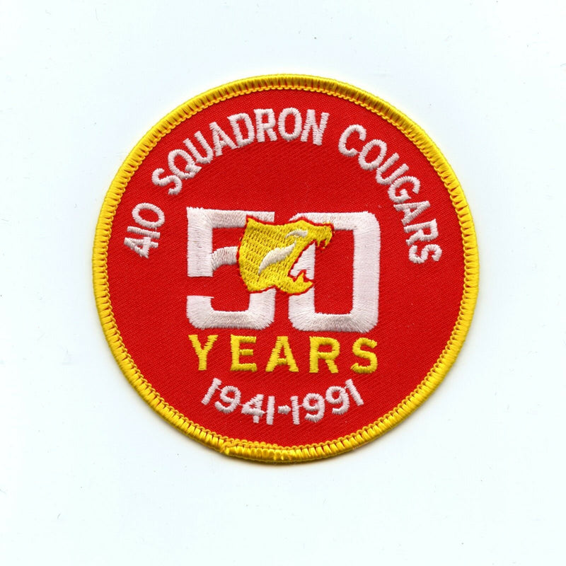 RCAF CAF Canadian 410 Cougars Squadron 50th Anniversary Colour Crest Patch