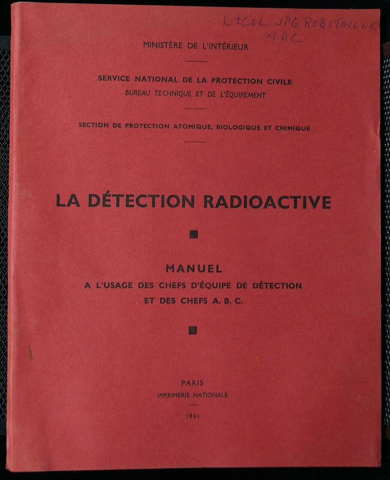 Cold War French Radioactive Detection French Text Manual Reference Book