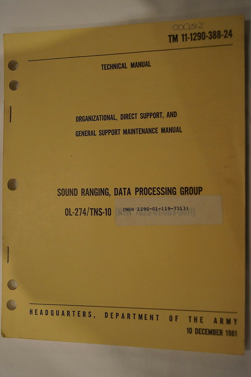 US Army Sound Ranging Maintenance 1981 Reference Book