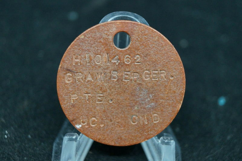 WW2 Canadian Army ID Dog Tag Single H101462 Pte Grawberger