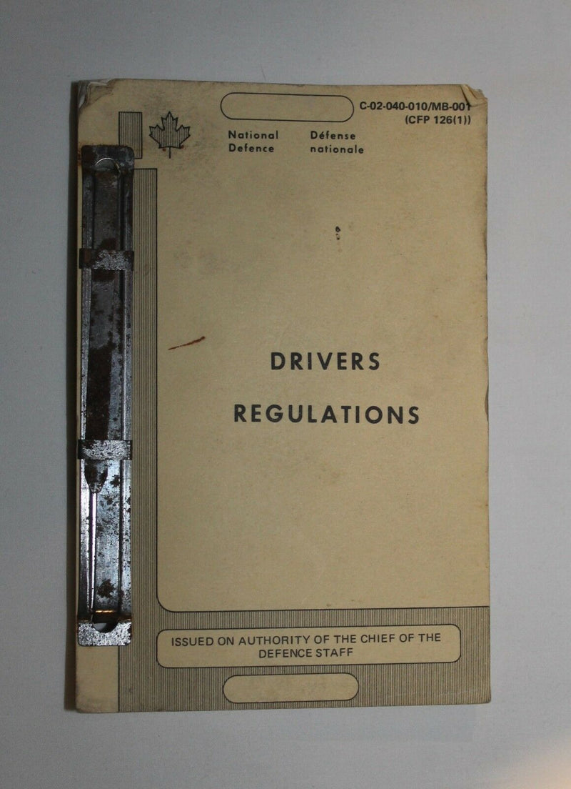 Canadian Forces National Defence Drivers Regulations Manual Reference Book