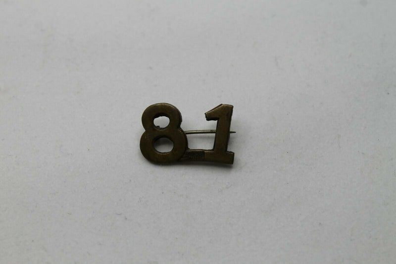 WW1 Canadian CEF 81st Battalion Shoulder Numbers Insignia Single