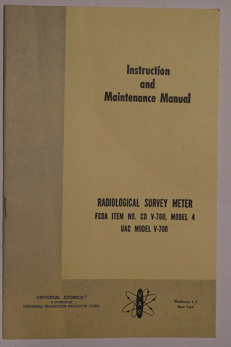 US Canadian Military Radiological Survey Meter 4 Instructions Reference Book