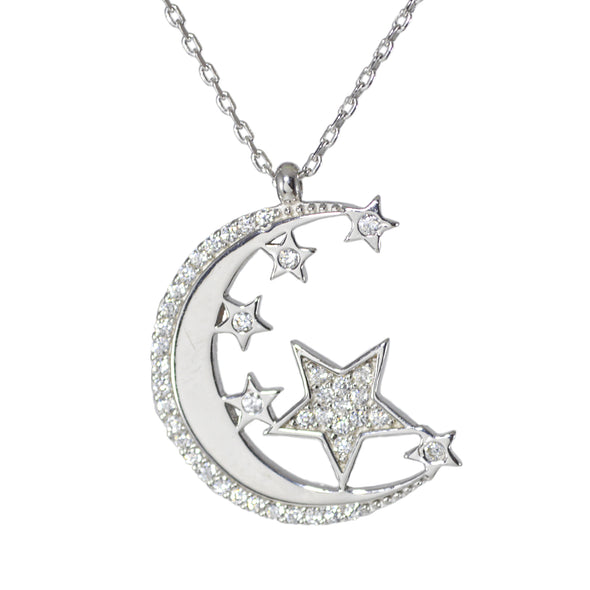 Colier argint Moon and Stars