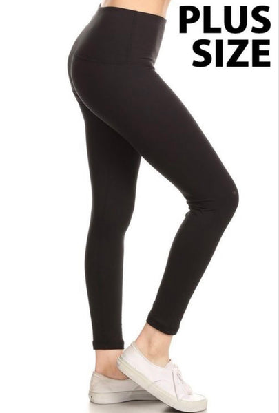 Plus Size Solid Leggings- Colors