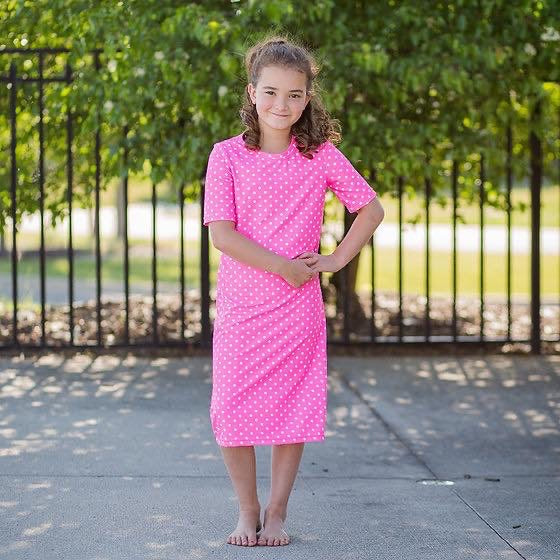 JUNIORS Neon Pink & Dots Swim Dress