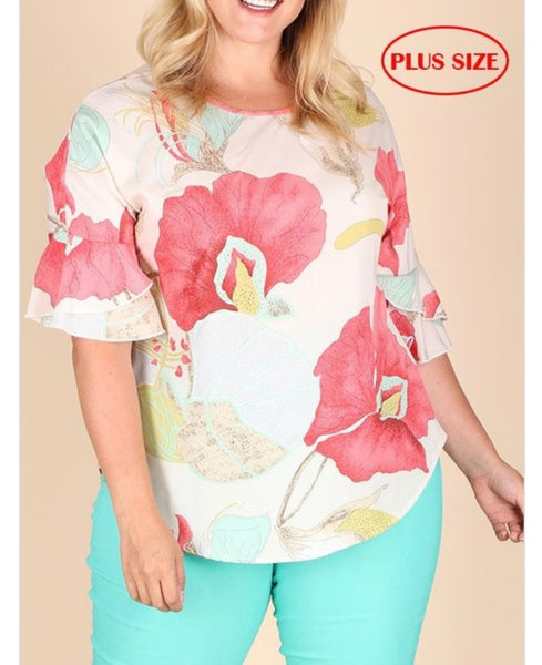 Full Bloom Bell Sleeve Top - Plus