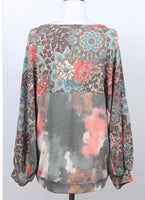 Floral Tie Dye Sweater- Plus