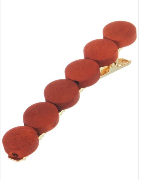 Wooden CIrcle hair clip- Brown