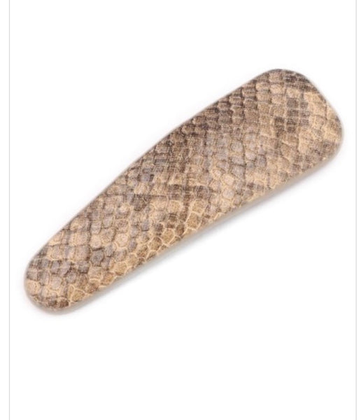 Faux Leather Hair Clip- Brown Snake