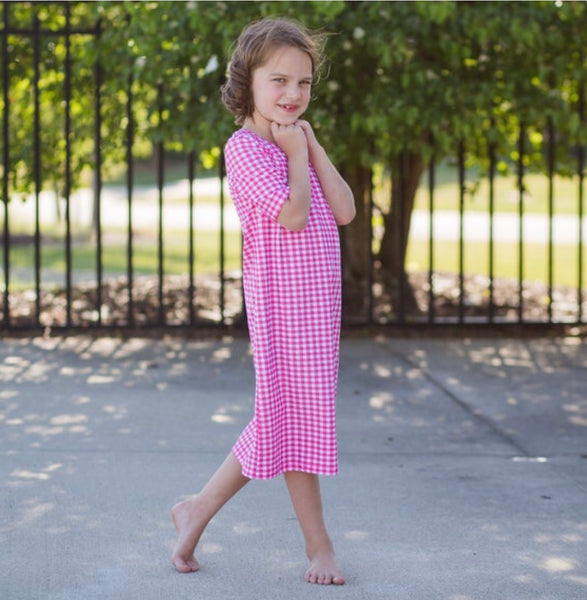 JUNIORS Pink Gingham Swim Dress