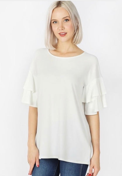 Double Ruffle Sleeve Top-Ivory (miss & plus)