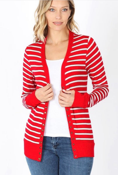 Striped Cardigan- Red