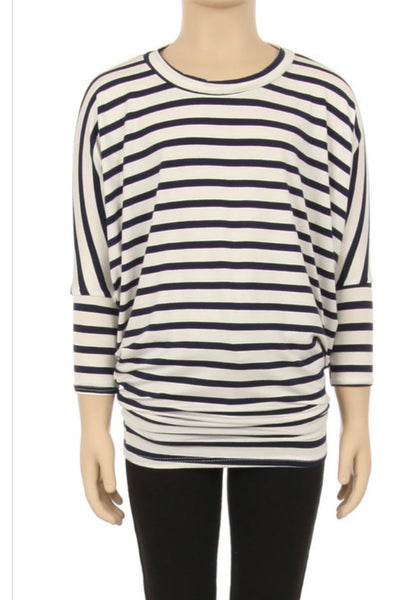 Navy & White Stripe Top- KIDS