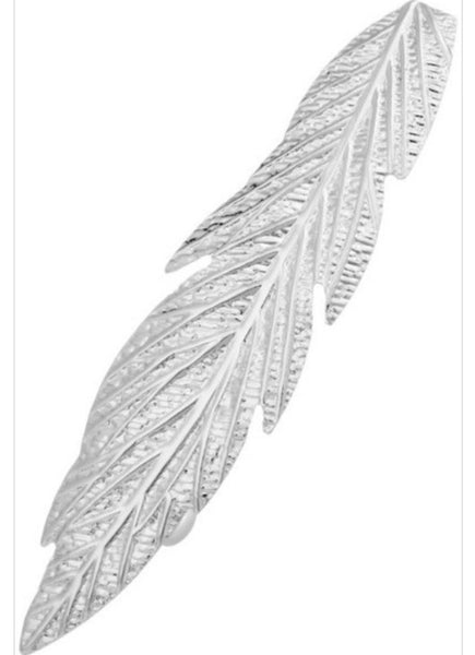 Textured Metal Leaf Barrette- Rhodium