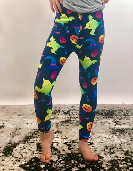 Kids Leggings- neon spooky