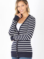 Striped Cardigan- Navy