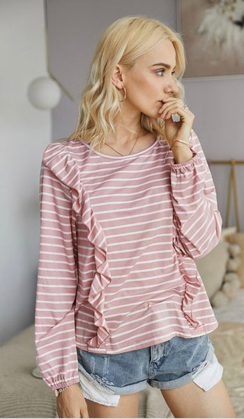 Striped Ruffle Top- Pink