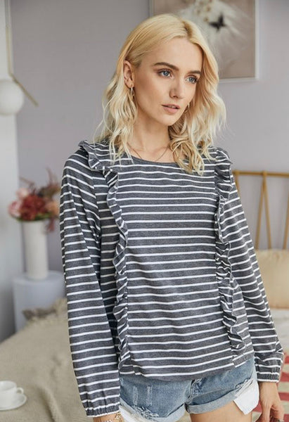 Striped Ruffle Top- Charcoal