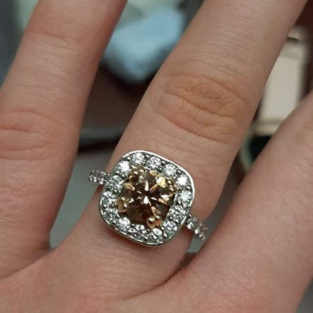 Australian Chocolate diamond engagement ring set in a Platinum band
