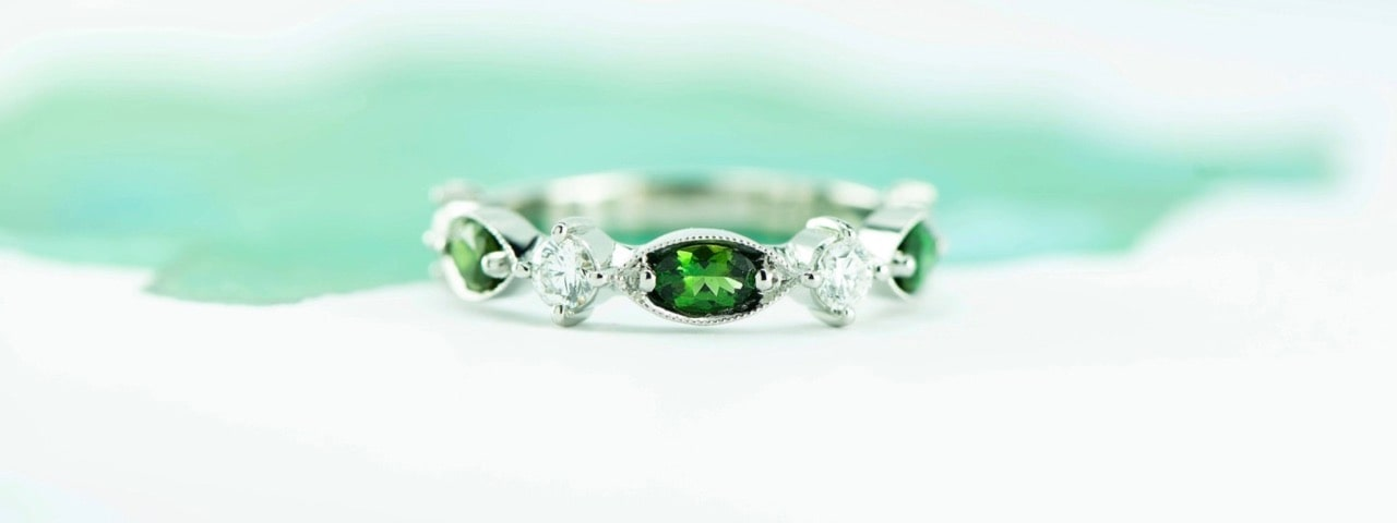 Platinum and green Tourmaline ring with diamonds