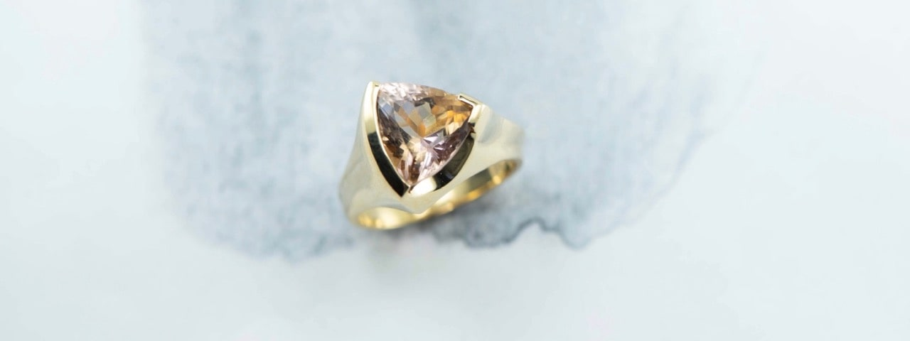 Hand made custom designer ring made with an Ametrine stone and small diamonds set in 9ct yellow gold