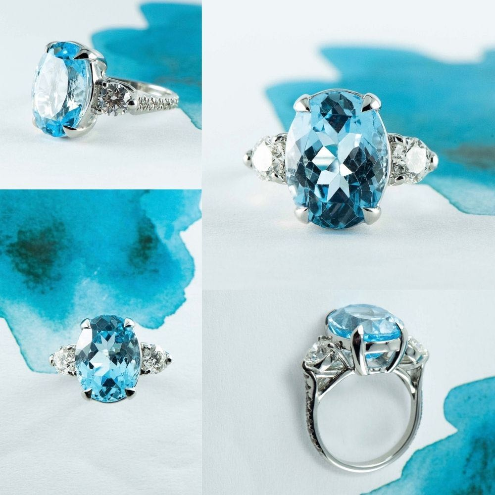 Platinum Aquamarine and diamond ring made by Canterbury Jewellers in New Zealand Christchurch