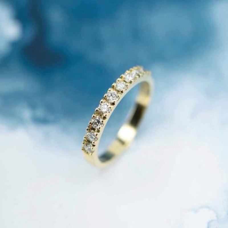 18ct yellow gold bead set wedder - Canterbury Jewellers Shop