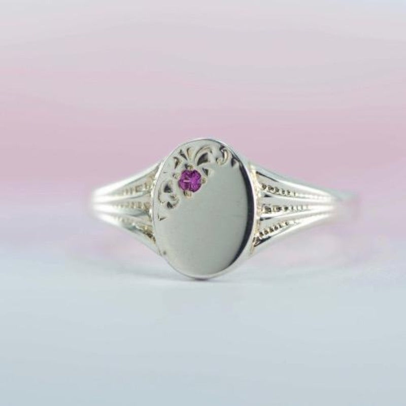 Ladies oval signet ring in Sterling Silver with natural birthstones