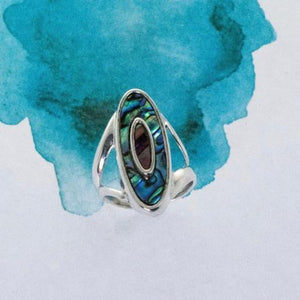 Bi tone oval Paua shell Sterling Silve rdress ring