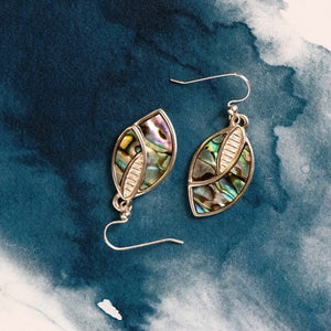 Shield Sterling Silver drop earrings with natural NZ Paua shell inlay
