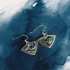 Trilliant Sterling Silver drop earrings with natural NZ Paua shell inlay