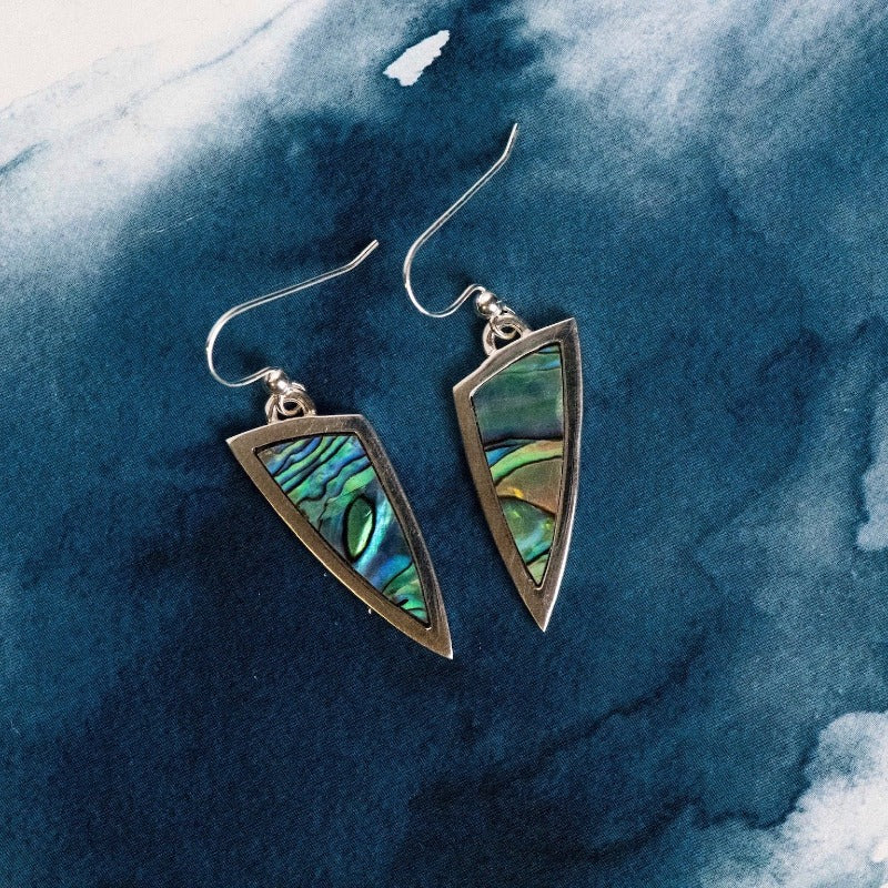 Single tone Sterling Silver drop earrings with natural NZ Paua shell inlay