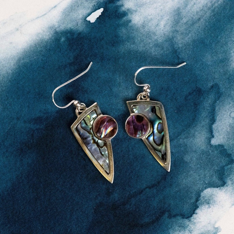 Two tone Sterling Silver drop earrings with natural NZ Paua shell inlay