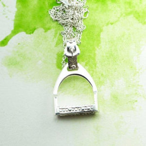 Large Sterling Silver Stirrup pendant with a silver chain