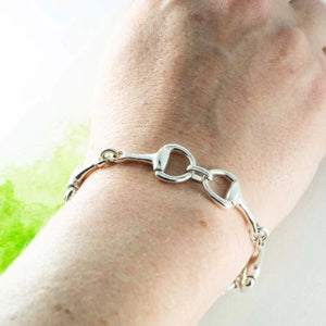 Sterling Silver swivel snaffle bracelet on arm