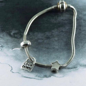 Lockdown 2020 silver charm NZ for a slider bracelet or a slider chain