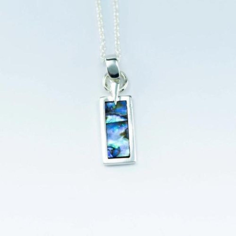 Boxed Sterling Silver pendant with natural NZ Paua shell inlay - Canterbury Jewellers Shop