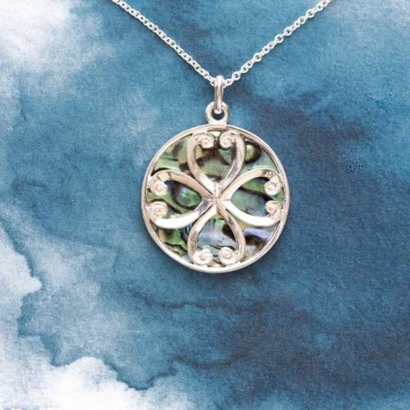 Celtic Sterling Silver pendant with natural NZ Paua shell inlay - Canterbury Jewellers Shop