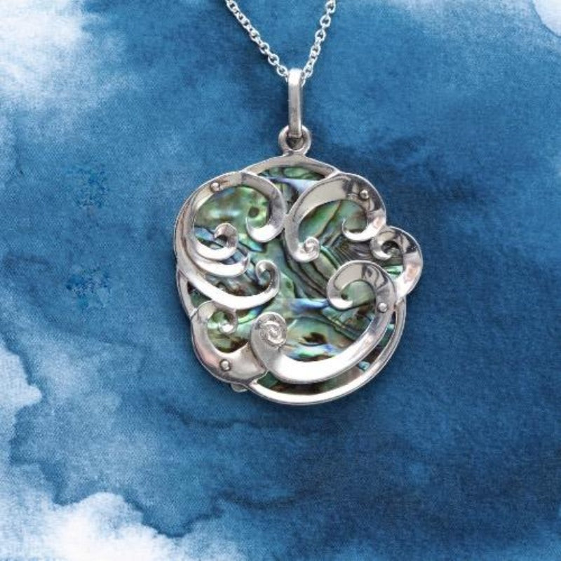 Curls Sterling Silver pendant with natural NZ Paua shell inlay - Canterbury Jewellers Shop
