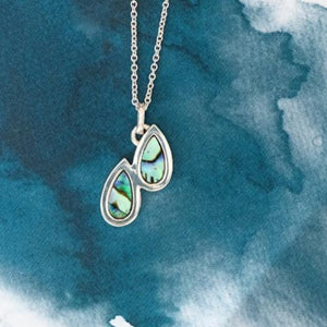 Droplet Sterling Silver pendant with natural NZ Paua - Canterbury Jewellers Shop