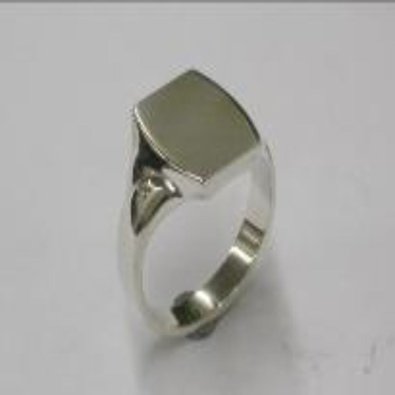 Square plain solid signet ring in Sterling Silver