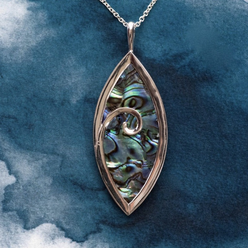 Large Koru Sterling Silver pendant with natural NZ Paua - Canterbury Jewellers Shop
