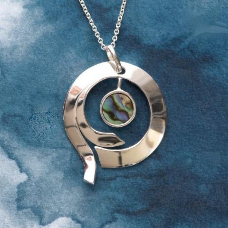 Medium Lunar Sterling Silver pendant with natural NZ Paua shell inlay - Canterbury Jewellers Shop