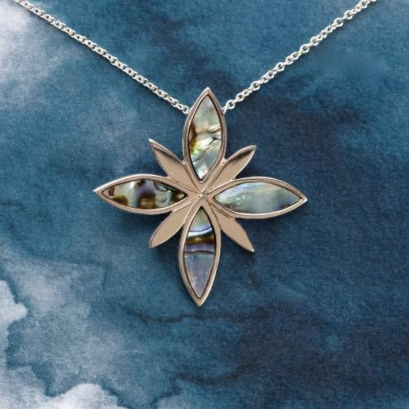 NZ Paua flower Sterling silver pendant with natural NZ shell inlay - Canterbury Jewellers Shop