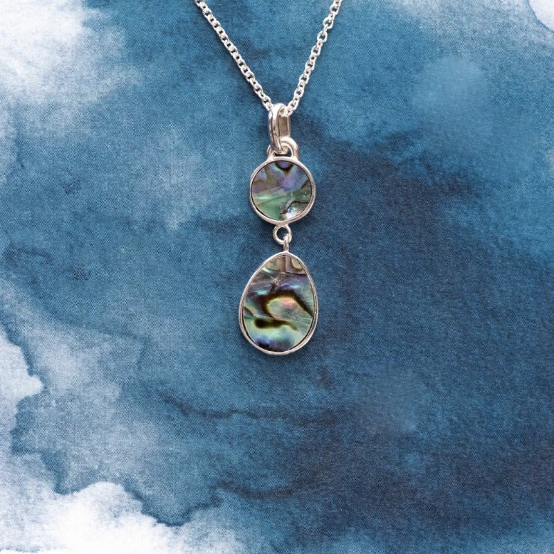 Orbit Sterling Silver pendant with natural NZ Paua shell inlay - Canterbury Jewellers Shop