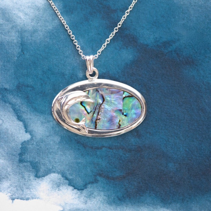 Oval dolphin Paua shell Sterling Silver pendant - Canterbury Jewellers Shop