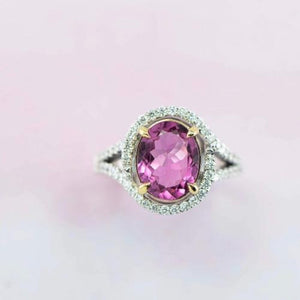 Pink Tourmaline and diamonds set in white gold. Made by - Canterbury Jewellers Shop NZ
