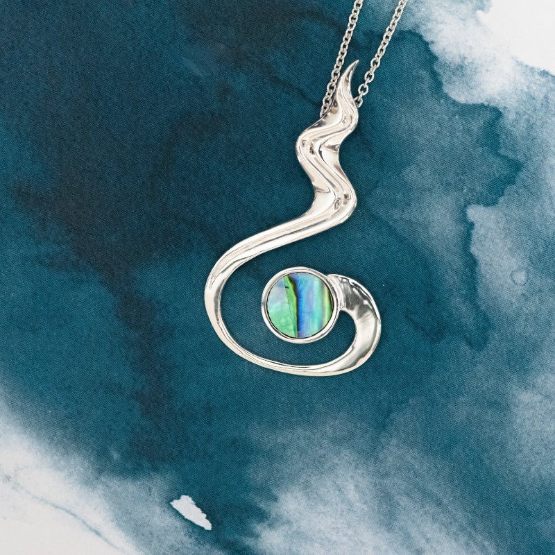 River Sterling Silver pendant with natural NZ Paua - Canterbury Jewellers Shop