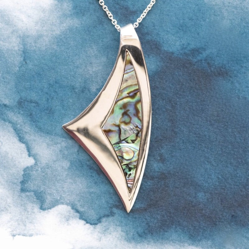 Sail Paua shell inlay Sterling Silver pendant - Canterbury Jewellers Shop